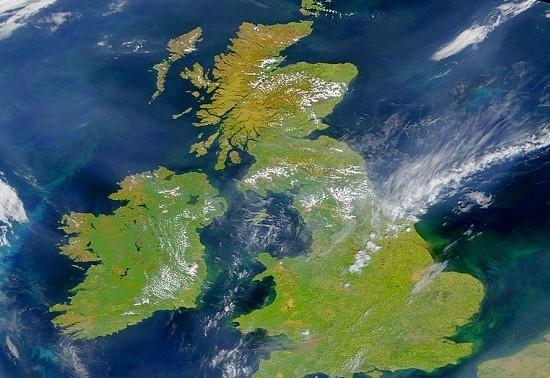 从太空中看到的大不列颠群岛的形状