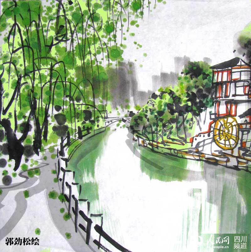 四川画家手绘成都地铁四号线攻略 带你玩转沿途美食美景
