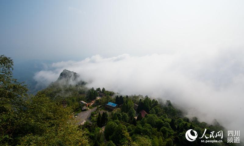 从丹山顶上俯瞰,山顶下的云海宛若仙境