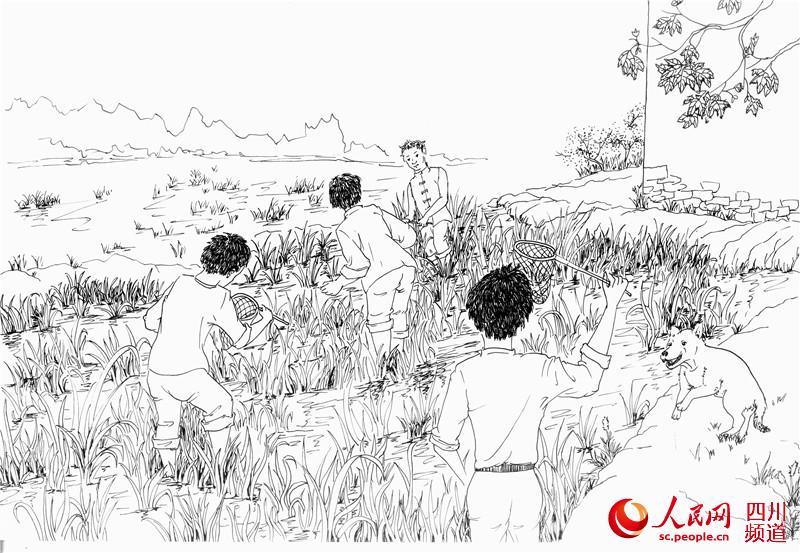 组图:90后女大学生手绘成都百年水碾河