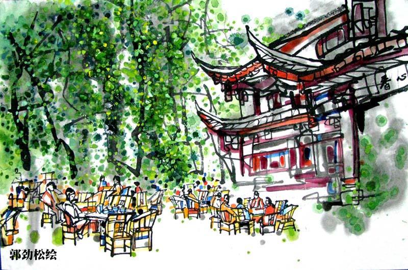 画家手绘成都十大茶馆 尽显休闲之都香浓茶文化