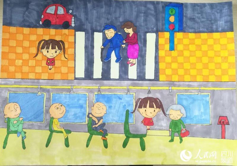 """所学校近500幅以""""家风家训""""为主题的绘画作品,汇聚到川报全媒"""