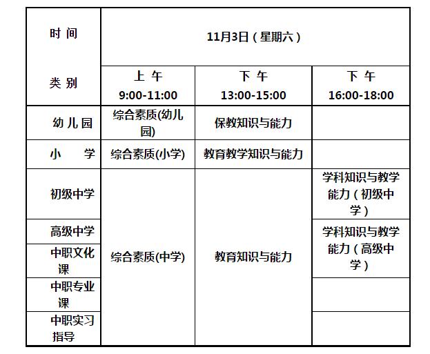 2018年下半年 中小学教师资格考试(笔试)时间
